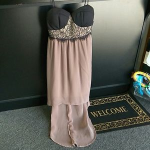 Small Black Lace Taupe Skirt Party Dress